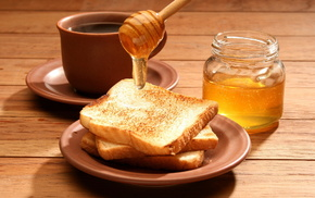 завтрак, Тосты, чай, вкусно, банка, еда