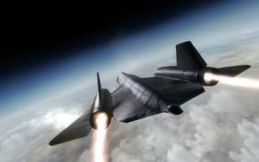 вид, Самолёт, авиация, полёт, чёрный, двигатели