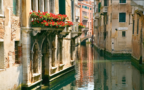 cities, flowers, street, water, Italy