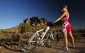 girl, sports, bicycle, mountain