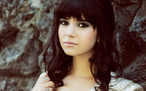 girl, brunette, tattoo, brown eyes, bangs