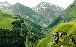 nature, mountain, valley, trees, height
