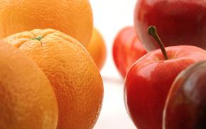вкусно, Макро, апельсины, яблоки