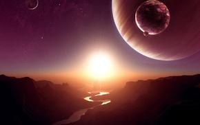 Sun, river, stars, space, satellite