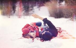 man, girl, boy, love, snowflakes