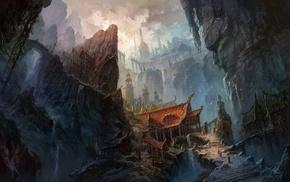 mountain, bridge, waterfall, stairs, rocks