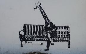 bench, graffiti, men, stunner, wall