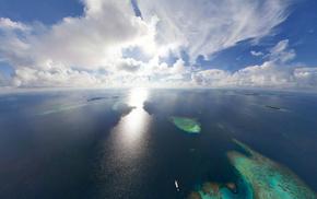 nature, horizon, Sun, clouds, ocean
