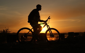 sports, boy, sky, sunset, bicycle