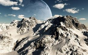 Горы, земля, луна, небо, 3d