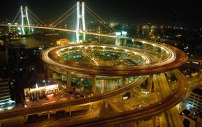 bridge, night, cities, lights, China