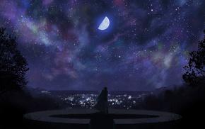 night, city, moon, anime, lights
