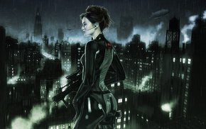 city, girl, rain, night, gun