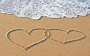 love, heart, sand