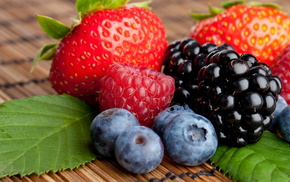 ягоды, вкусно, Клубника, ежевика, черника, малина
