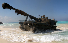 gun, soldier, ocean, tank