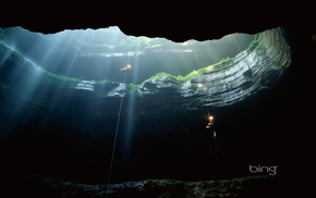cave, light, nature, greenery, people