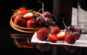 berries, delicious, strawberry, grapes