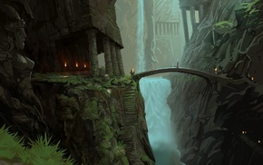 statue, fantasy, bridge, landscape, mountain