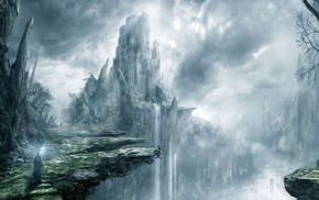 castle, fantasy, waterfall