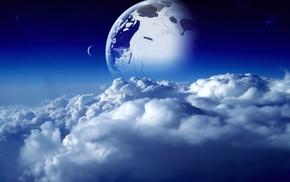 луна, облака, голубой, Космос, небо, space