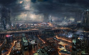 fantasy, art, city, night
