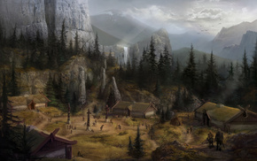 waterfall, village, Dragon Age, mountain, fantasy