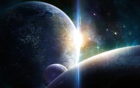 space, planets, light, lights, stars