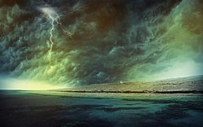 storm, nature, rain, lightning