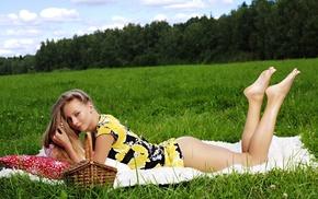 glade, girls, basket, grass