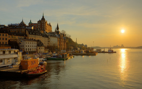 cities, Sun, river, embankment