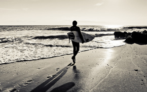 серфинг, доска, сёрфер, следы, тень, силуэт