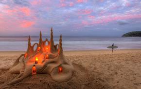 nature, sand, candles, sea, beach