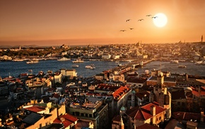 evening, sunset, panorama, cities, Istanbul