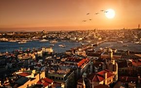 evening, sunset, panorama, cities, Istanbul