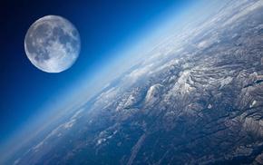 Луна, планета, космос, вид, земля