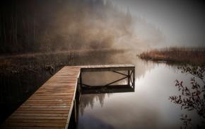 river, coast, autumn, nature, mist