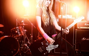 guitar, blonde, girls, Avril Lavigne