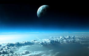 небо, ракета, планета, космос, Облака