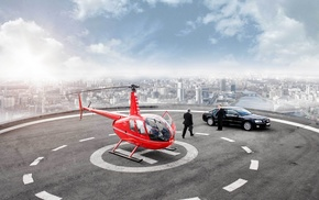 skyscraper, Audi, helicopter, aircraft
