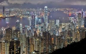cities, skyscrapers, night