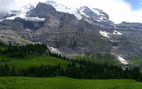 горы, Пейзаж, поляна, долина, панорама, снег