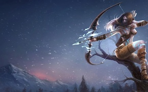 snow, mountain, girl, tree, video games
