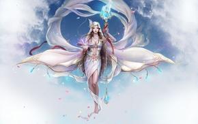 book, petals, clouds, art, magic