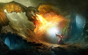 cave, magic, fantasy, dragon, fire