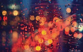 lights, window, drops, macro, colors