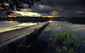 evening, lake, nature, houses, river