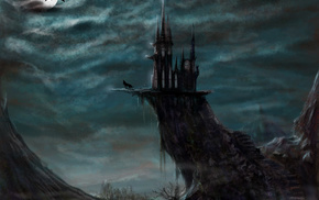art, castle, fantasy, moon, wolf