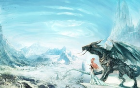 village, girl, art, dragon, rocks