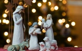 holiday, fir-tree, lights, Christmas